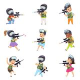 Boys and girls paintball players set, little kids wearing masks and vests playing paintball aiming with guns vector. Illustration isolated on a white background stock illustration