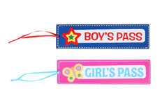 Boys and Girls Pass. Boys and Girls School Pass Isolated over white stock images