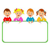 Boys and girls with pencils and frame Stock Image