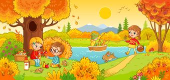 Boys and girls on a picnic. Children in the woods and fishing. Vector illustration in children s style stock illustration