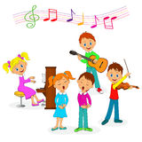Boys and girls  play music and sing. Illustration,vector Royalty Free Stock Photo