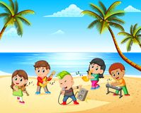 Boys and girls playing in band on the beach stock illustration