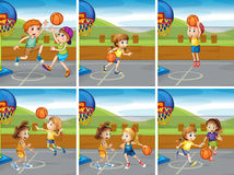 Boys and girls playing basketball. Illustration Royalty Free Stock Photos