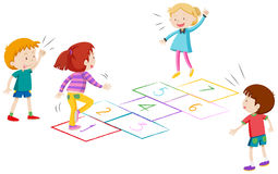 Boys and girls playing hopscotch Royalty Free Stock Photo