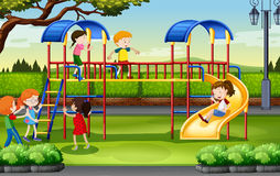 Boys and girls playing at the playground Stock Photos