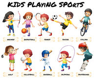 Boys and girls playing sports. Illustration Stock Images