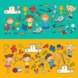 Boys and girls playing sports illustration Fitness, football, soccer, yoga, tennis, basketball, hockey, volleyball. Boys and girls playing sports illustrations Stock Image