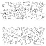 Boys and girls playing sports illustration Fitness, football, soccer, yoga, tennis, basketball, hockey, volleyball. Boys and girls playing sports illustrations Stock Images