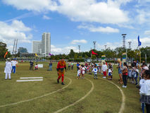 Boys and girls racing in sydney stadium,australia Stock Image