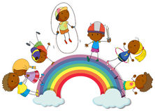 Boys and girls on the rainbow Royalty Free Stock Photography