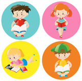 Boys and girls reading book on round badge vector illustration