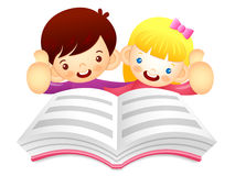 Boys and girls are reading a large book. Education and life Char Stock Images