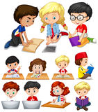 Boys and girls reading and studying. Illustration Royalty Free Stock Photography