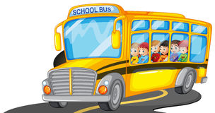 Boys and girls riding in school bus Stock Images