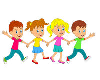 Boys and girls run, hand in hand Royalty Free Stock Image