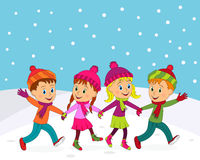 Boys and girls run in winter Royalty Free Stock Photography