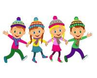 Boys and girls run in winter Stock Image