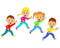 Boys and girls running  Royalty Free Stock Image