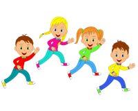 Boys and girls running. Children,boys and girls running, illustration, vector Royalty Free Stock Image