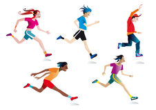 Boys and girls running (white background). Five boys and girls running (white background Royalty Free Stock Image