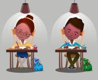 Boys, girls. School kids. Children sitting on desk. Kids school vector. Boys, girls vector cartoon. Preschool illustration. School kids Stock Photos