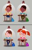 Boys, girls. School kids. Set. Children sitting on desk. Kids school vector. Boys, girls vector cartoon. Preschool illustration. School kids Stock Photo