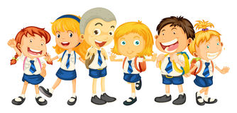 Boys and girls in school uniform Royalty Free Stock Photo