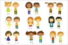 Boys and girls set, cute happy little kids vector Illustrations on a white background vector illustration