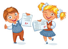 Boys and girls showing perfect test results. An A student. Funny cartoon character. Vector illustration. Isolated on white background Royalty Free Stock Image