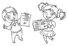 Boys and girls showing perfect test results Stock Images