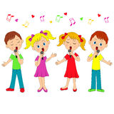 Boys and girls singing vector illustration