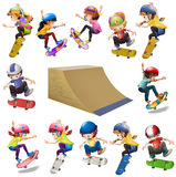 Boys and girls skateboarding on the ramp Stock Images