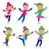 Boys and girls skating collection Stock Photo