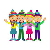 Boys and girls smiling and waving their hand Stock Image