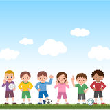 Boys and girls and soccer balls Royalty Free Stock Image