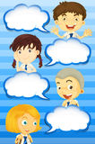 Boys and girls with speech bubbles Stock Image