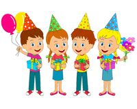 Boys and girls stand with gifts,balloons and flowers. Birthday,boys and girls stand with gifts,balloons and flowers, illustration, vector Royalty Free Stock Images