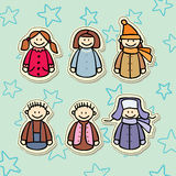 Boys and girls sticker collection. Little smiling boys and girls sticker collection Stock Photo