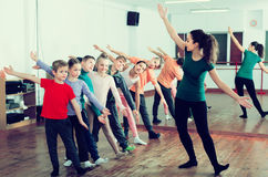 Boys and girls studying contemp dance Royalty Free Stock Photo