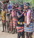 Boys and girls at the traditional evangaty ceremony. Turmi, Ethiopia. Stock Photos