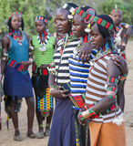 Boys and girls at the traditional evangaty ceremony. Turmi, Ethiopia. Royalty Free Stock Images