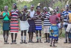 Boys and girls at the traditional evangaty ceremony. Turmi, Ethiopia. Royalty Free Stock Photo