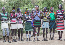 Boys and girls at the traditional evangaty ceremony. Turmi, Ethiopia. Royalty Free Stock Image