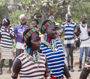 Boys and girls at the traditional evangaty ceremony. Turmi, Ethiopia. Stock Image