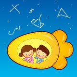 Boys and girls traveling on a carrot plane spacecraft. Childrens Royalty Free Stock Photography