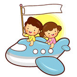 Boys and girls traveling on a plane Royalty Free Stock Image