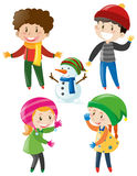 Boys and girls in winter clothes. Illustration Stock Photos