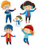 Boys and girls in winter clothes. Illustration Stock Photo