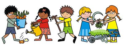 Boys and girls work in the garden. Kids and garden tools. Vector illustration Stock Photos