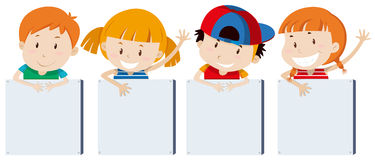 Boys and girs holding signs. Illustration Vector Illustration